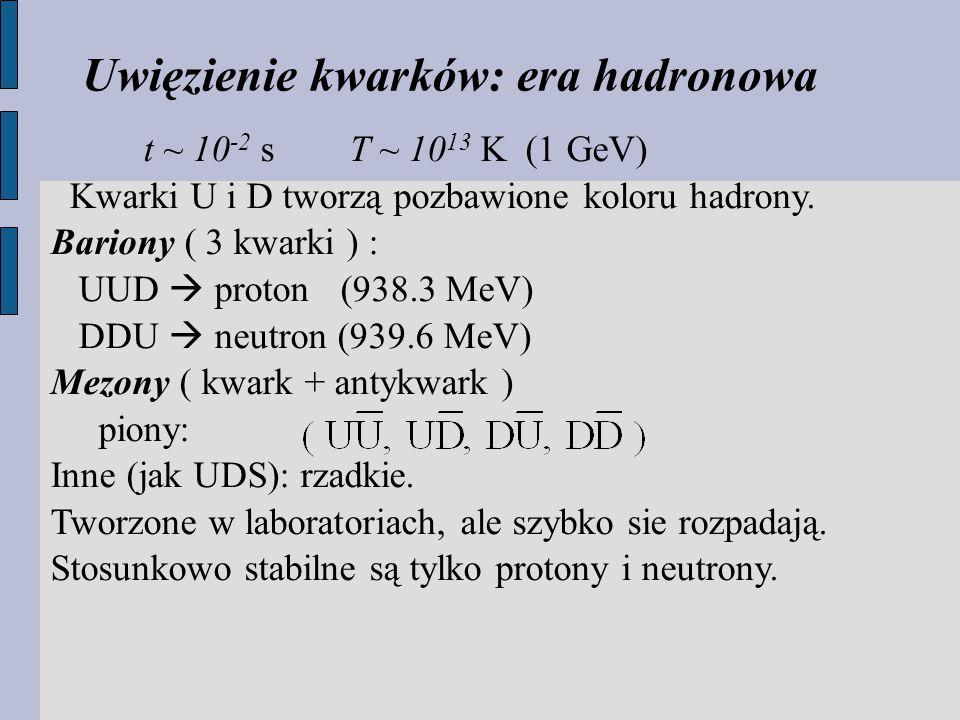 t ~ 10 -2 s T ~ 10 13 K (1 GeV) Kwarki U i D tworzą pozbawione koloru hadrony.
