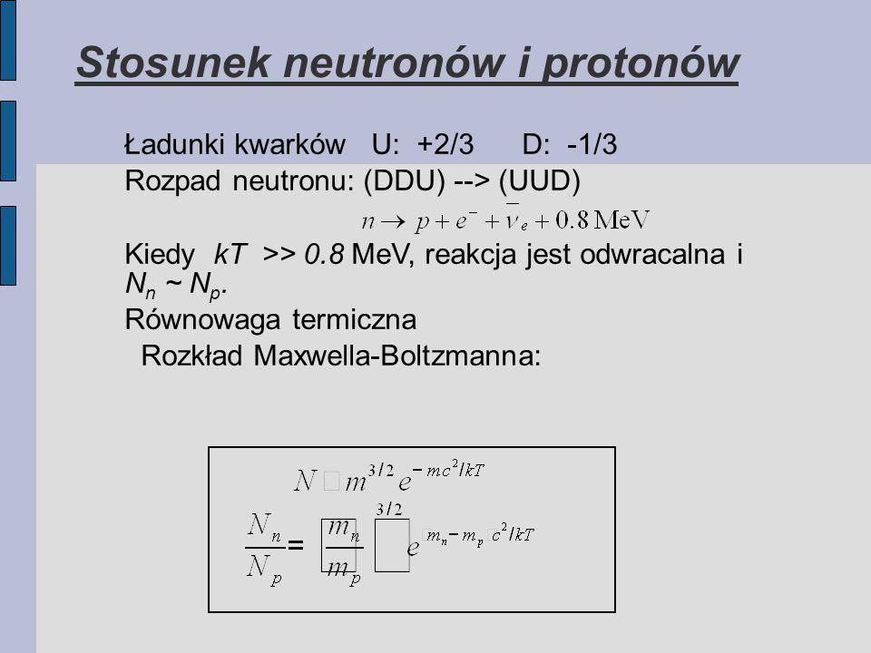 Stosunek neutronów i protonów Ładunki kwarków U: +2/3 D: -1/3 Rozpad neutronu: (DDU) --> (UUD) Kiedy kT >> 0.8 MeV, reakcja jest odwracalna i N n ~ N p.