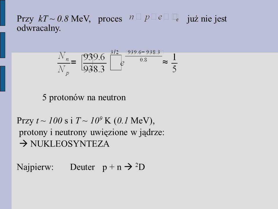Przy kT ~ 0.8 MeV, proces już nie jest odwracalny.