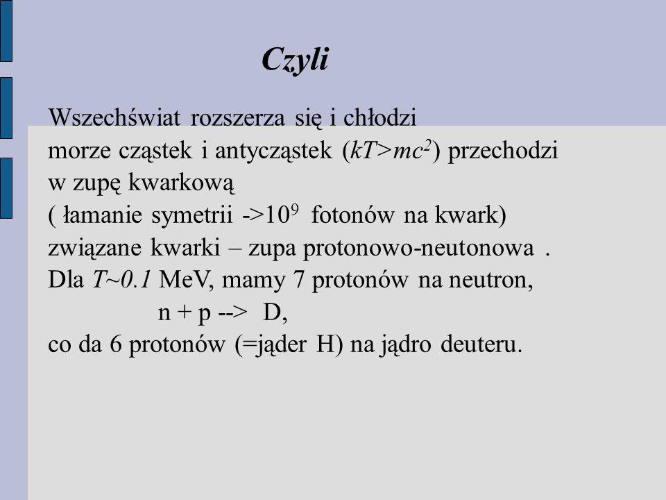 Wszechświat rozszerza się i chłodzi morze cząstek i antycząstek (kT>mc 2 ) przechodzi w zupę kwarkową ( łamanie symetrii ->10 9 fotonów na kwark) związane kwarki – zupa protonowo-neutonowa.