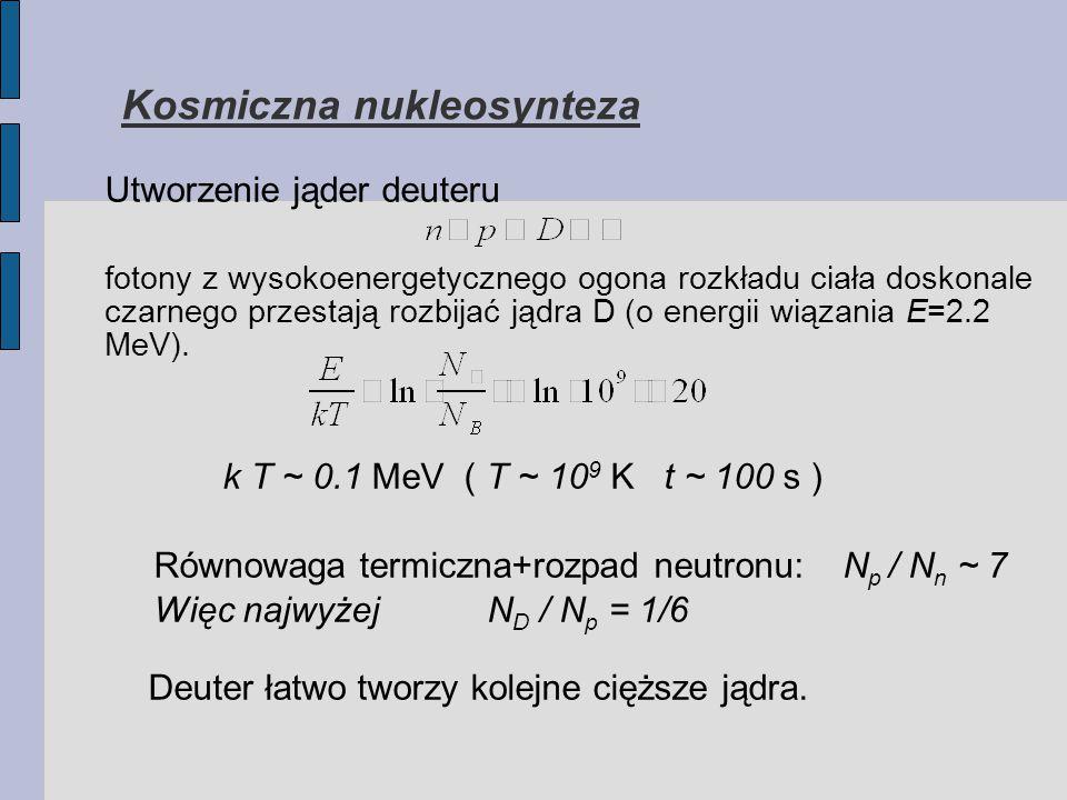 Kosmiczna nukleosynteza Utworzenie jąder deuteru fotony z wysokoenergetycznego ogona rozkładu ciała doskonale czarnego przestają rozbijać jądra D (o energii wiązania E=2.2 MeV).