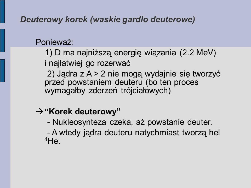 Ponieważ: 1) D ma najniższą energię wiązania (2.2 MeV) i najłatwiej go rozerwać 2) Jądra z A > 2 nie mogą wydajnie się tworzyć przed powstaniem deuteru (bo ten proces wymagałby zderzeń trójciałowych)  Korek deuterowy - Nukleosynteza czeka, aż powstanie deuter.