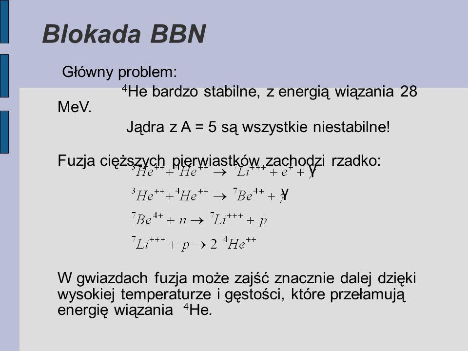 Blokada BBN Główny problem: 4 He bardzo stabilne, z energią wiązania 28 MeV.