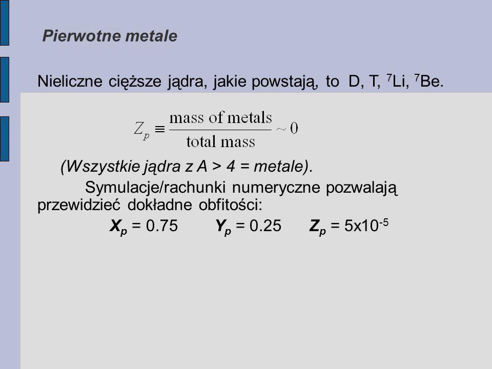 Nieliczne cięższe jądra, jakie powstają, to D, T, 7 Li, 7 Be.