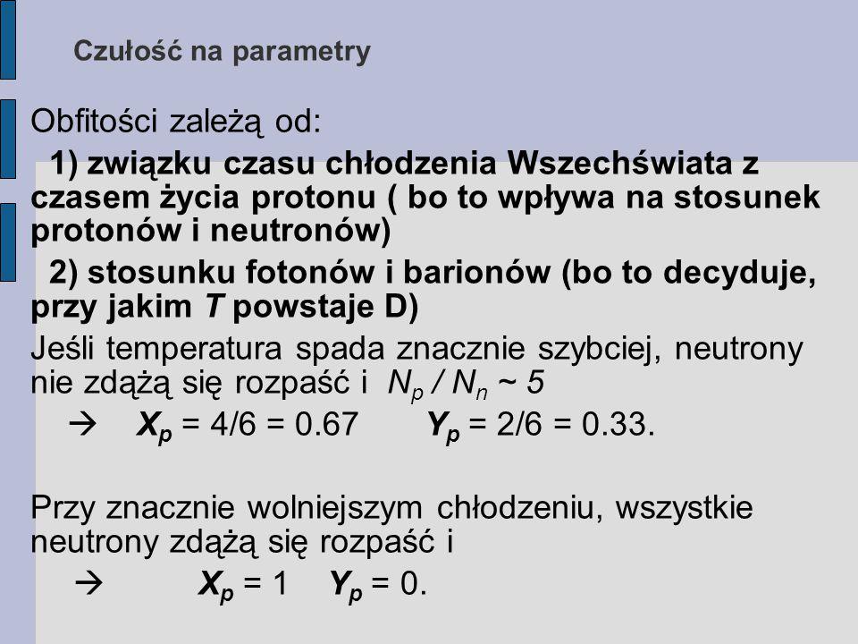 Obfitości zależą od: 1) związku czasu chłodzenia Wszechświata z czasem życia protonu ( bo to wpływa na stosunek protonów i neutronów) 2) stosunku fotonów i barionów (bo to decyduje, przy jakim T powstaje D) Jeśli temperatura spada znacznie szybciej, neutrony nie zdążą się rozpaść i N p / N n ~ 5  X p = 4/6 = 0.67 Y p = 2/6 = 0.33.