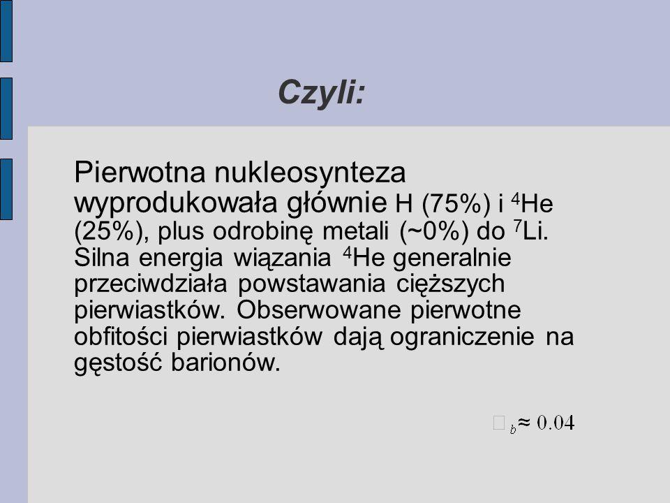 Czyli: Pierwotna nukleosynteza wyprodukowała głównie H (75%) i 4 He (25%), plus odrobinę metali (~0%) do 7 Li.