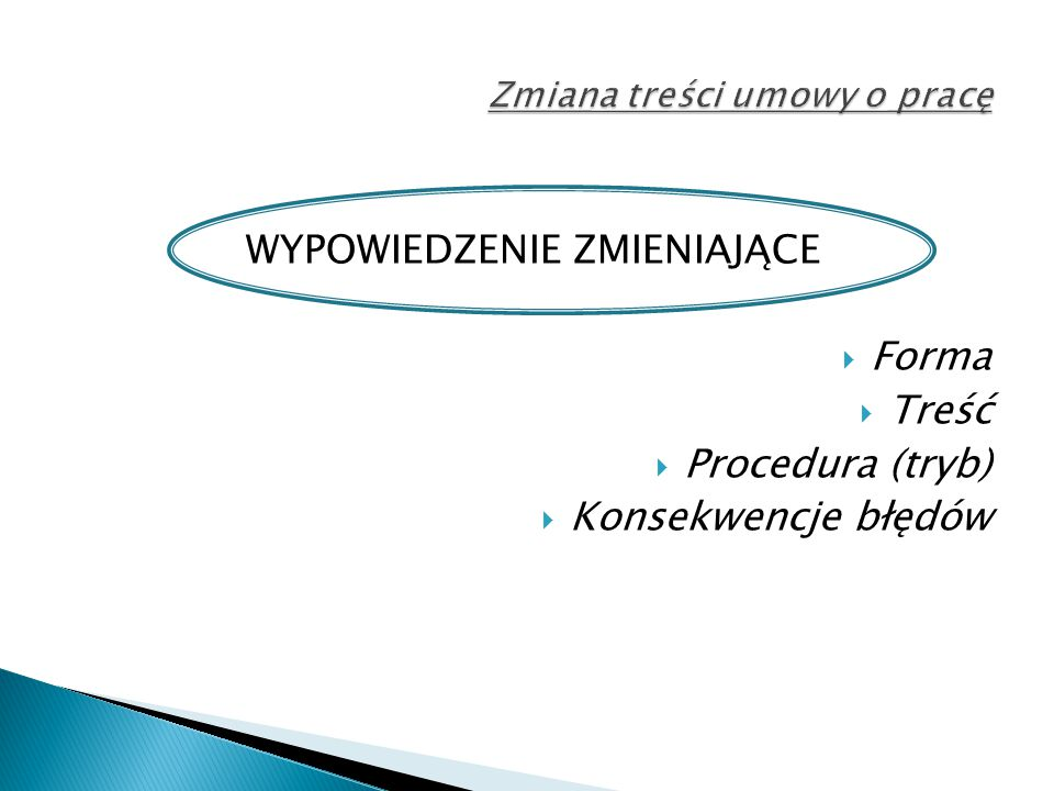 WYPOWIEDZENIE ZMIENIAJĄCE  Forma  Treść  Procedura (tryb)  Konsekwencje błędów