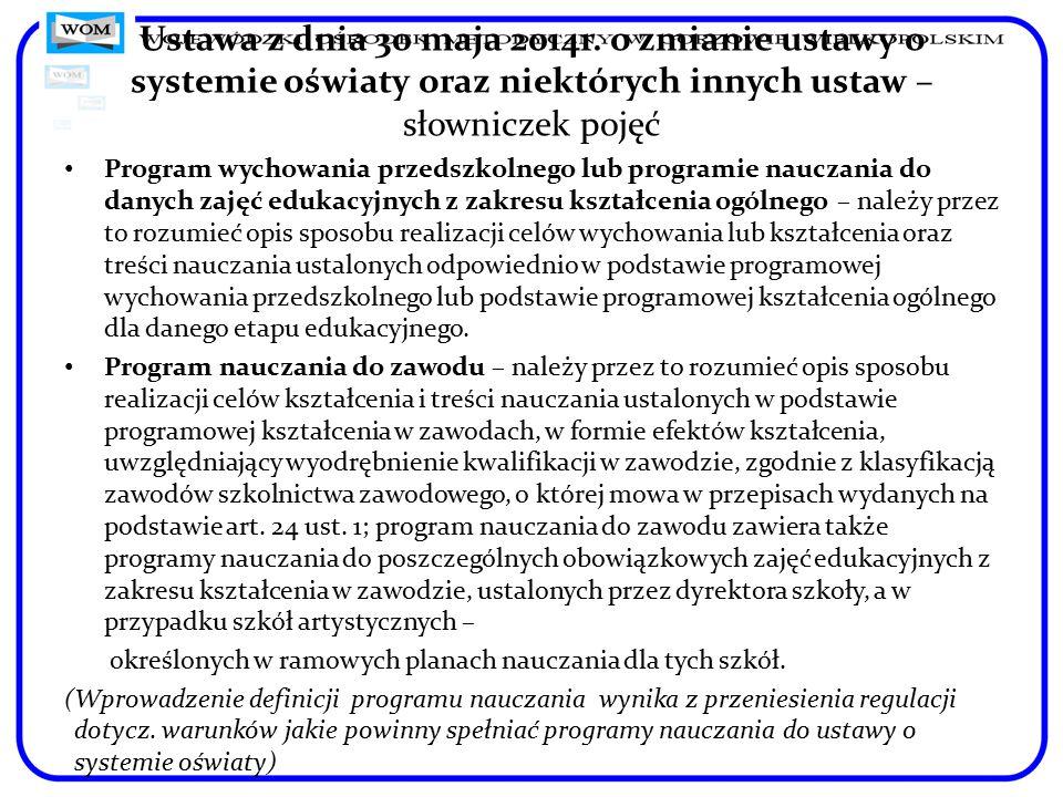 Ustawa z dnia 30 maja 2014r. o zmianie ustawy o systemie oświaty oraz niektórych innych ustaw – słowniczek pojęć Program wychowania przedszkolnego lub