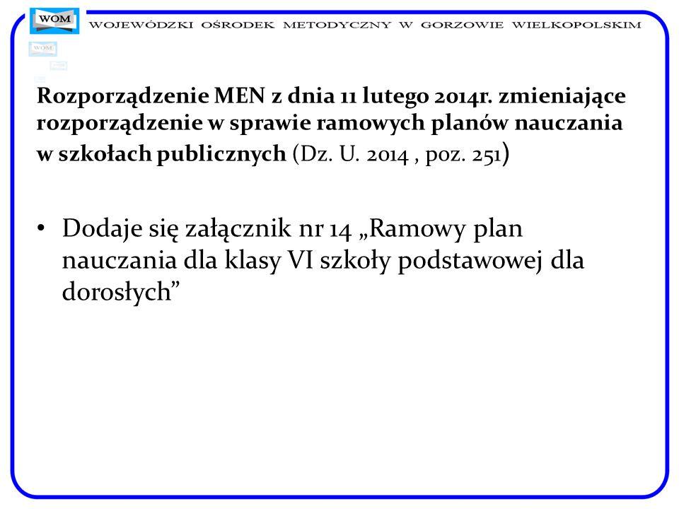 Rozporządzenie MEN z dnia 11 lutego 2014r. zmieniające rozporządzenie w sprawie ramowych planów nauczania w szkołach publicznych (Dz. U. 2014, poz. 25