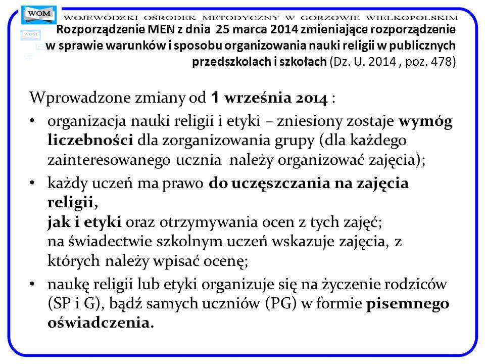 Rozporządzenie MEN z dnia 25 marca 2014 zmieniające rozporządzenie w sprawie warunków i sposobu organizowania nauki religii w publicznych przedszkolach i szkołach (Dz.