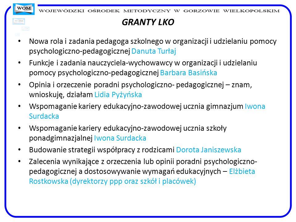 GRANTY LKO Nowa rola i zadania pedagoga szkolnego w organizacji i udzielaniu pomocy psychologiczno-pedagogicznej Danuta Turłaj Funkcje i zadania naucz