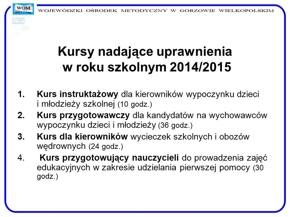 Kursy nadające uprawnienia w roku szkolnym 2014/2015 1.Kurs instruktażowy dla kierowników wypoczynku dzieci i młodzieży szkolnej (10 godz.) 2.Kurs prz