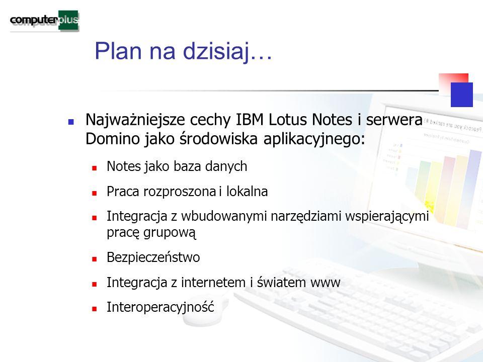 Plan na dzisiaj… Najważniejsze cechy IBM Lotus Notes i serwera Domino jako środowiska aplikacyjnego: Notes jako baza danych Praca rozproszona i lokalna Integracja z wbudowanymi narzędziami wspierającymi pracę grupową Bezpieczeństwo Integracja z internetem i światem www Interoperacyjność