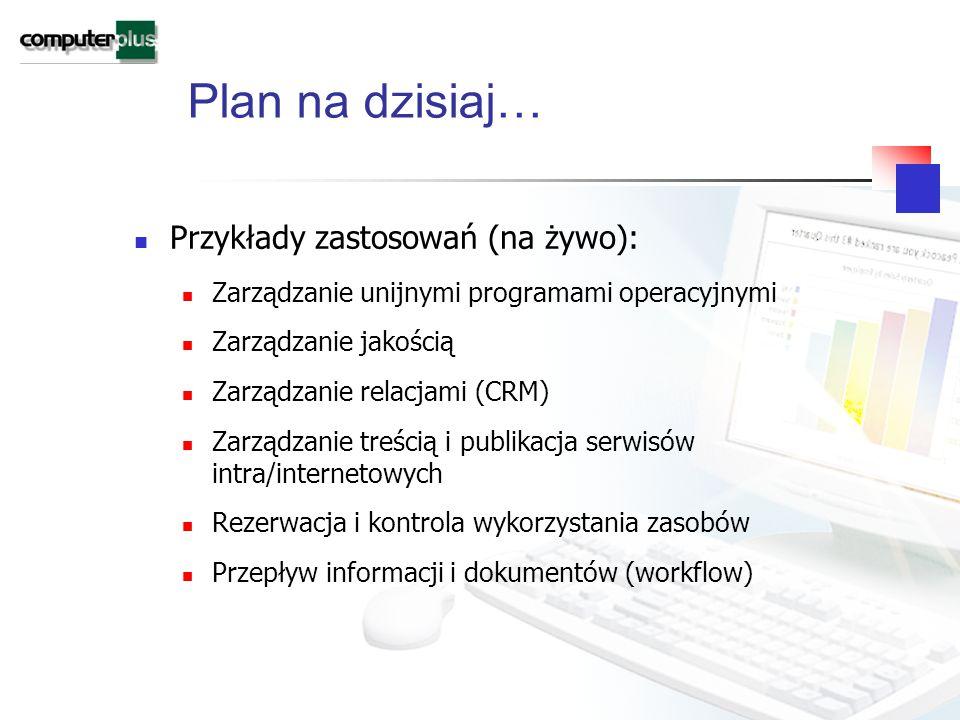 Plan na dzisiaj… Przykłady zastosowań (na żywo): Zarządzanie unijnymi programami operacyjnymi Zarządzanie jakością Zarządzanie relacjami (CRM) Zarządzanie treścią i publikacja serwisów intra/internetowych Rezerwacja i kontrola wykorzystania zasobów Przepływ informacji i dokumentów (workflow)