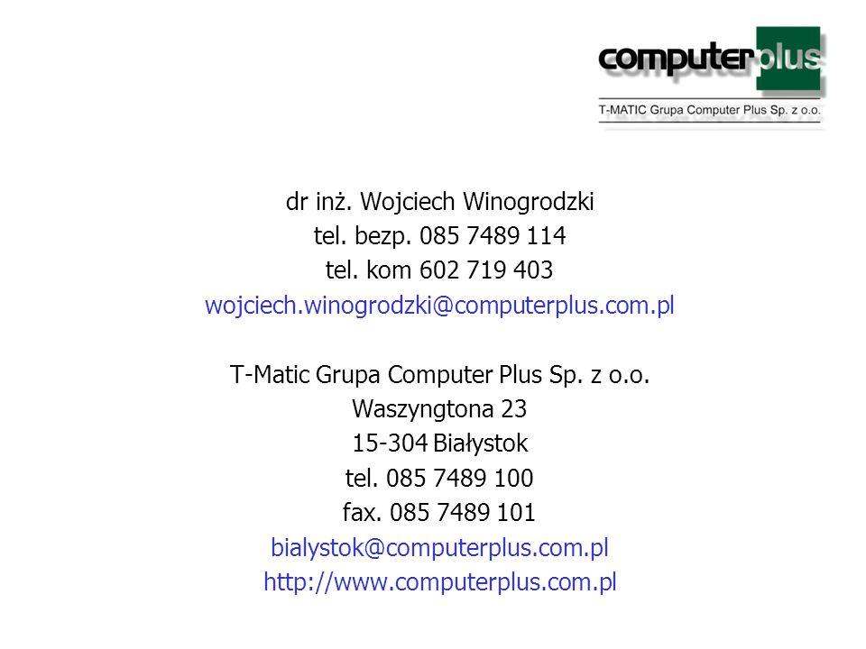 dr inż. Wojciech Winogrodzki tel. bezp. 085 7489 114 tel.