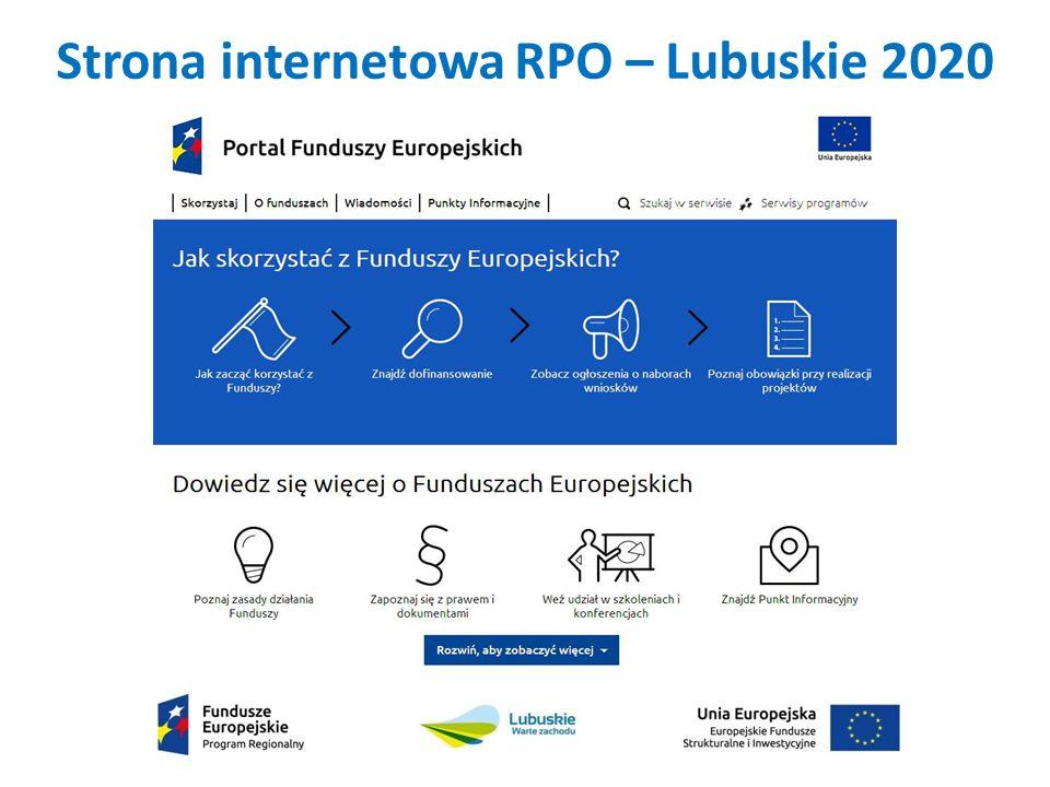 Strona internetowa RPO – Lubuskie 2020