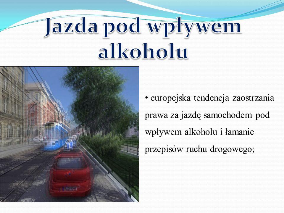 europejska tendencja zaostrzania prawa za jazdę samochodem pod wpływem alkoholu i łamanie przepisów ruchu drogowego;