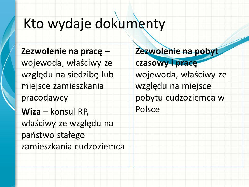 Kto wydaje dokumenty Zezwolenie na pracę – wojewoda, właściwy ze względu na siedzibę lub miejsce zamieszkania pracodawcy Wiza – konsul RP, właściwy ze względu na państwo stałego zamieszkania cudzoziemca Zezwolenie na pobyt czasowy i pracę – wojewoda, właściwy ze względu na miejsce pobytu cudzoziemca w Polsce