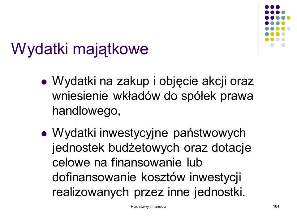 Podstawy finansów104 Wydatki majątkowe Wydatki na zakup i objęcie akcji oraz wniesienie wkładów do spółek prawa handlowego, Wydatki inwestycyjne państ