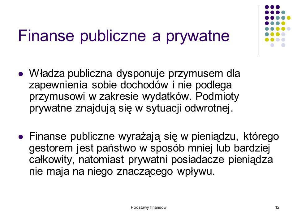 Podstawy finansów12 Finanse publiczne a prywatne Władza publiczna dysponuje przymusem dla zapewnienia sobie dochodów i nie podlega przymusowi w zakres