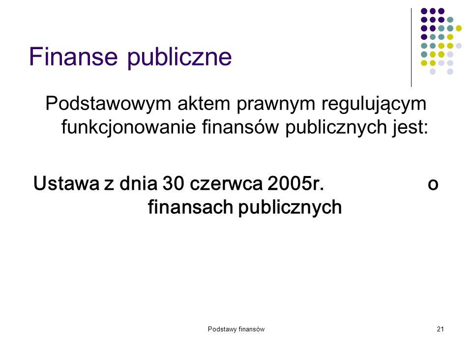 Podstawy finansów21 Finanse publiczne Podstawowym aktem prawnym regulującym funkcjonowanie finansów publicznych jest: Ustawa z dnia 30 czerwca 2005r.