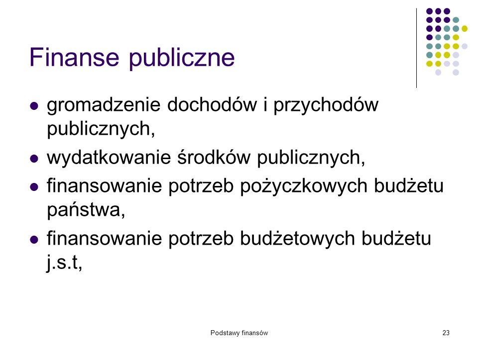 Podstawy finansów23 Finanse publiczne gromadzenie dochodów i przychodów publicznych, wydatkowanie środków publicznych, finansowanie potrzeb pożyczkowy
