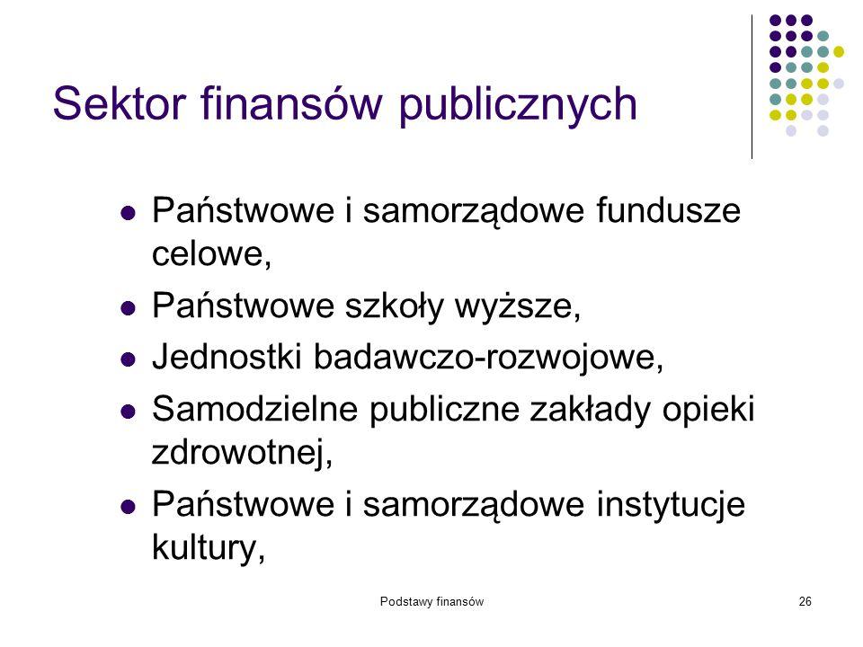 Podstawy finansów26 Sektor finansów publicznych Państwowe i samorządowe fundusze celowe, Państwowe szkoły wyższe, Jednostki badawczo-rozwojowe, Samodz