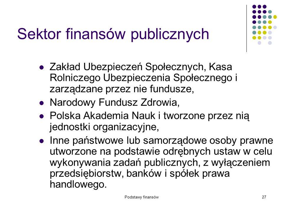 Podstawy finansów27 Sektor finansów publicznych Zakład Ubezpieczeń Społecznych, Kasa Rolniczego Ubezpieczenia Społecznego i zarządzane przez nie fundu