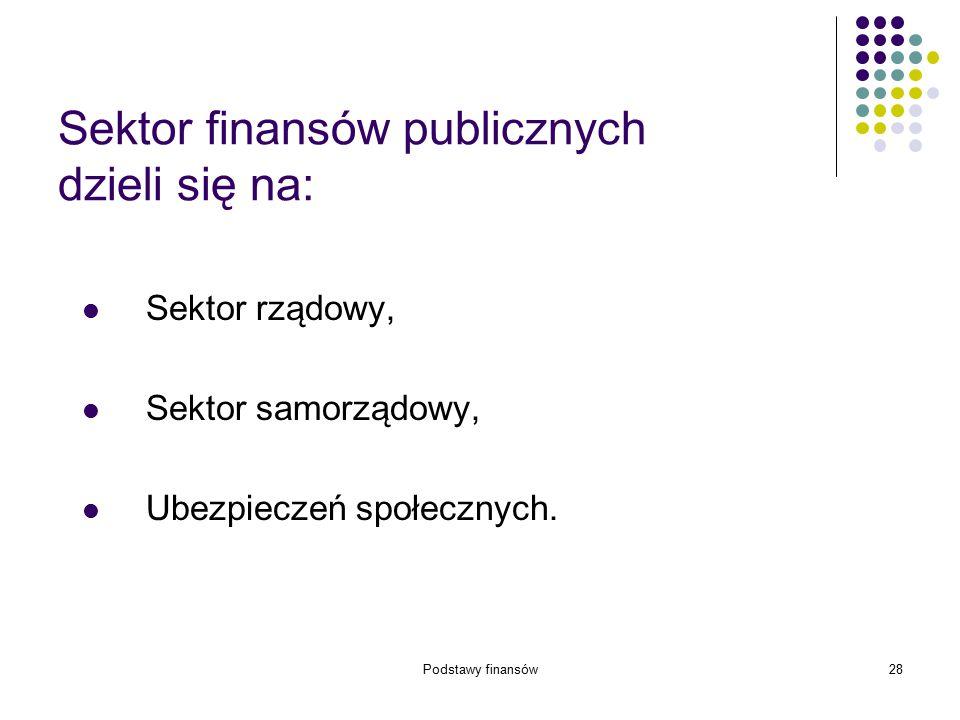Podstawy finansów28 Sektor finansów publicznych dzieli się na: Sektor rządowy, Sektor samorządowy, Ubezpieczeń społecznych.