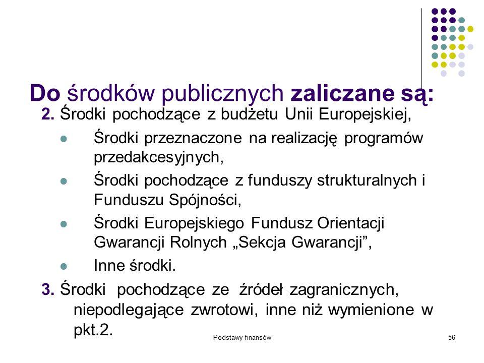Podstawy finansów56 Do środków publicznych zaliczane są: 2. Środki pochodzące z budżetu Unii Europejskiej, Środki przeznaczone na realizację programów