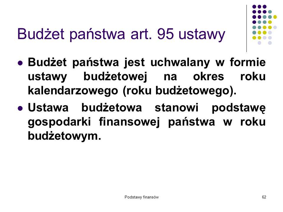 Podstawy finansów62 Budżet państwa art. 95 ustawy Budżet państwa jest uchwalany w formie ustawy budżetowej na okres roku kalendarzowego (roku budżetow