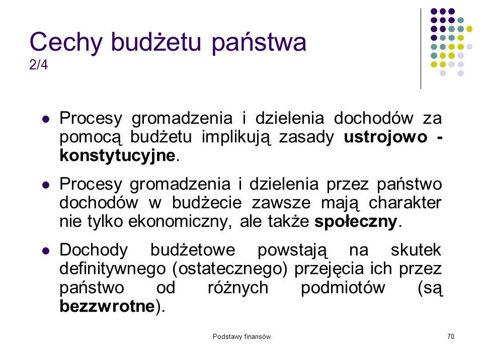 Podstawy finansów70 Cechy budżetu państwa 2/4 Procesy gromadzenia i dzielenia dochodów za pomocą budżetu implikują zasady ustrojowo - konstytucyjne. P
