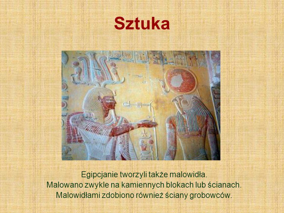 Sztuka Egipcjanie tworzyli także malowidła. Malowano zwykle na kamiennych blokach lub ścianach. Malowidłami zdobiono również ściany grobowców.