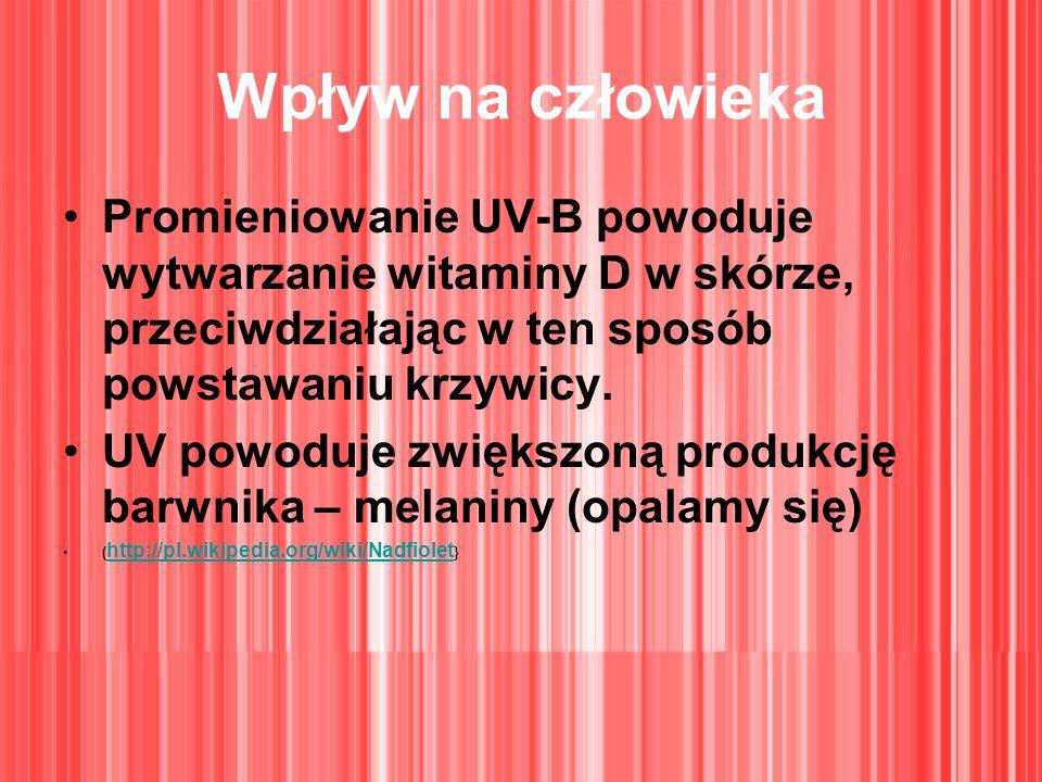 Wpływ na człowieka Promieniowanie UV-B powoduje wytwarzanie witaminy D w skórze, przeciwdziałając w ten sposób powstawaniu krzywicy. UV powoduje zwięk