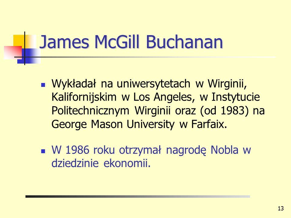 James McGill Buchanan Wykładał na uniwersytetach w Wirginii, Kalifornijskim w Los Angeles, w Instytucie Politechnicznym Wirginii oraz (od 1983) na Geo