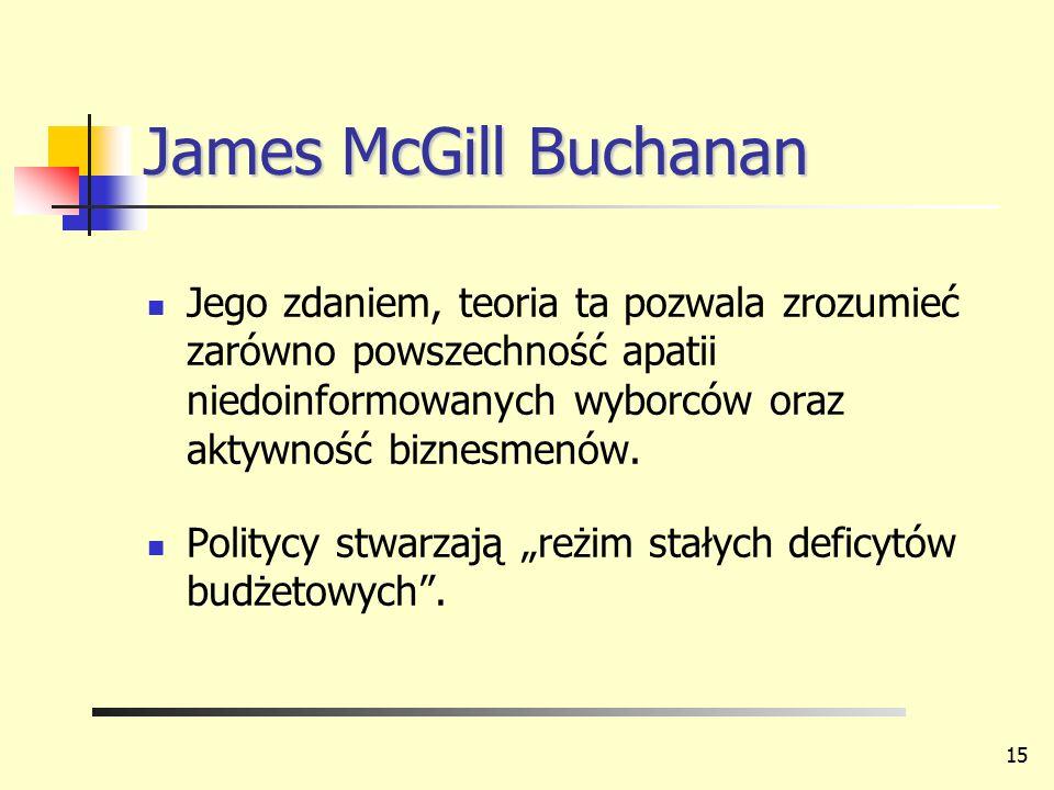 James McGill Buchanan Jego zdaniem, teoria ta pozwala zrozumieć zarówno powszechność apatii niedoinformowanych wyborców oraz aktywność biznesmenów. Po
