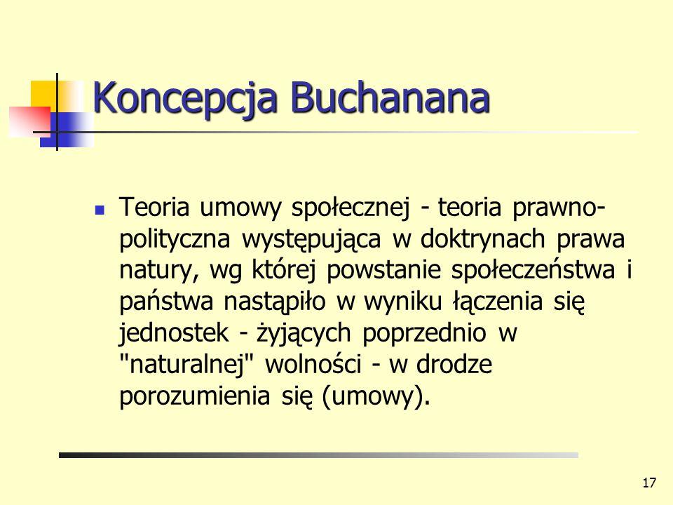 Koncepcja Buchanana Teoria umowy społecznej - teoria prawno- polityczna występująca w doktrynach prawa natury, wg której powstanie społeczeństwa i pań