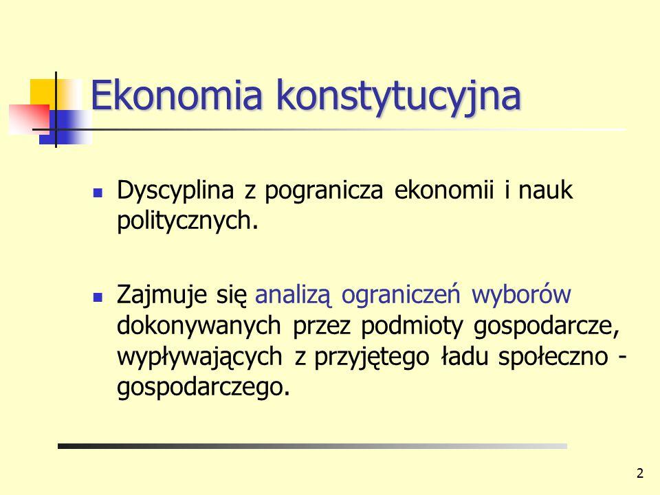 Ekonomia konstytucyjna Dyscyplina z pogranicza ekonomii i nauk politycznych. Zajmuje się analizą ograniczeń wyborów dokonywanych przez podmioty gospod