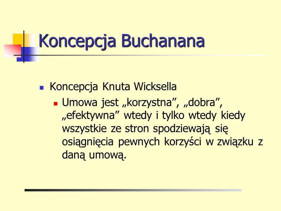 """Koncepcja Buchanana Koncepcja Knuta Wicksella Umowa jest """"korzystna"""", """"dobra"""", """"efektywna"""" wtedy i tylko wtedy kiedy wszystkie ze stron spodziewają si"""