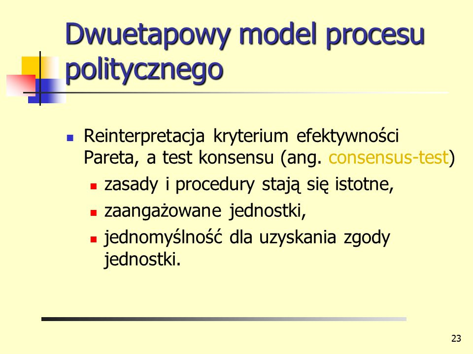Dwuetapowy model procesu politycznego Reinterpretacja kryterium efektywności Pareta, a test konsensu (ang. consensus-test) zasady i procedury stają si