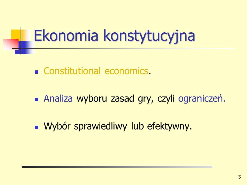 Ekonomia konstytucyjna Constitutional economics. Analiza wyboru zasad gry, czyli ograniczeń. Wybór sprawiedliwy lub efektywny. 3