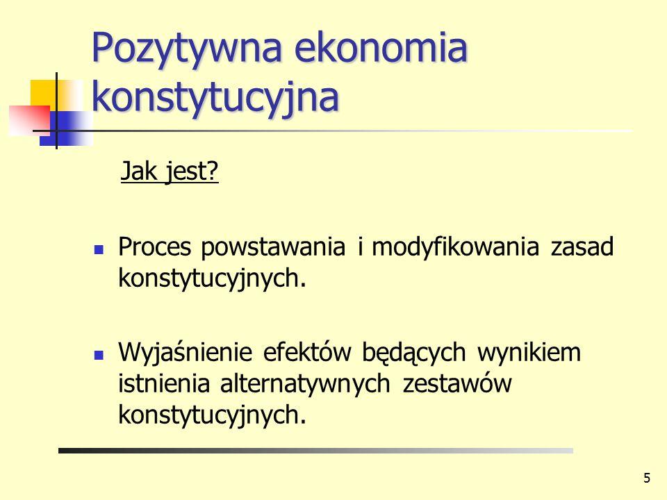 Pozytywna ekonomia konstytucyjna Jak jest? Proces powstawania i modyfikowania zasad konstytucyjnych. Wyjaśnienie efektów będących wynikiem istnienia a