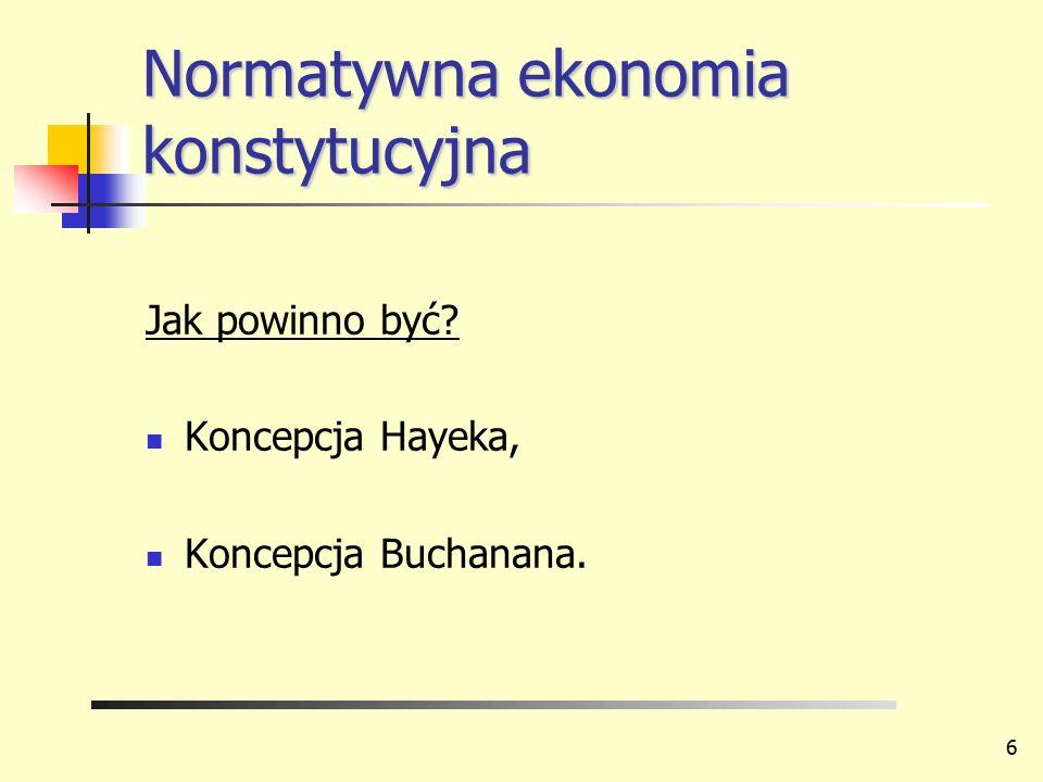Normatywna ekonomia konstytucyjna Jak powinno być? Koncepcja Hayeka, Koncepcja Buchanana. 6