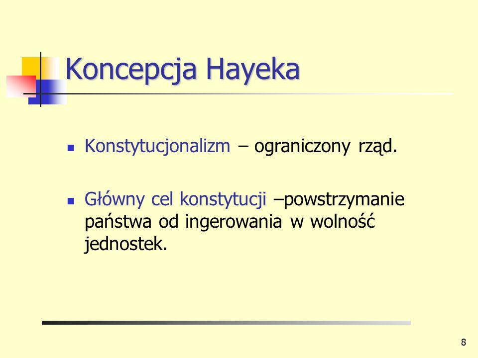 Koncepcja Hayeka Konstytucjonalizm – ograniczony rząd. Główny cel konstytucji –powstrzymanie państwa od ingerowania w wolność jednostek. 8