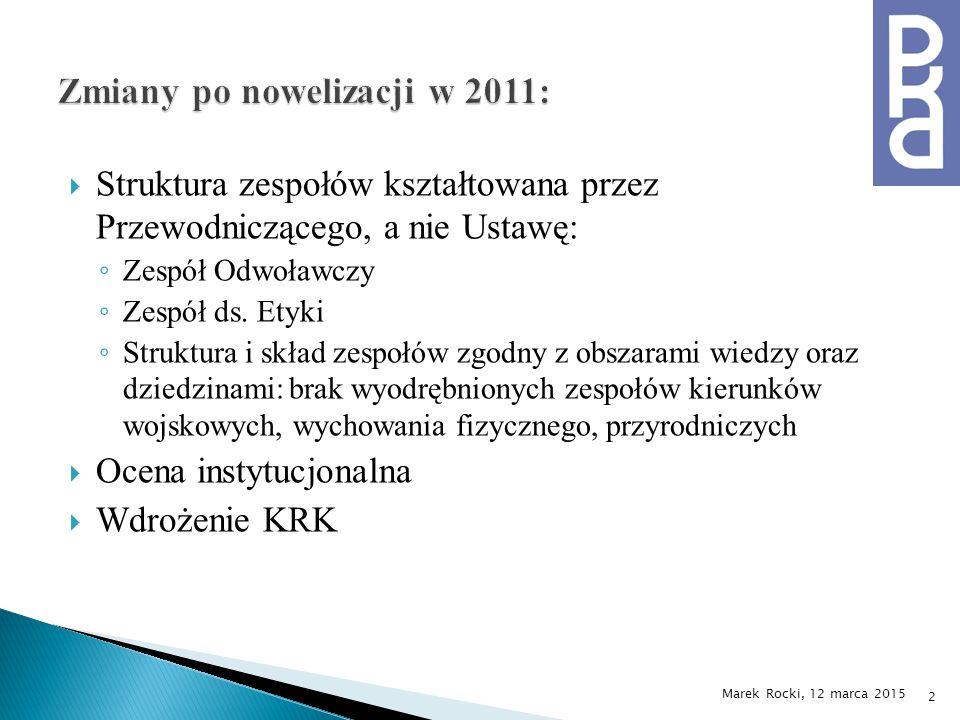  Struktura zespołów kształtowana przez Przewodniczącego, a nie Ustawę: ◦ Zespół Odwoławczy ◦ Zespół ds.