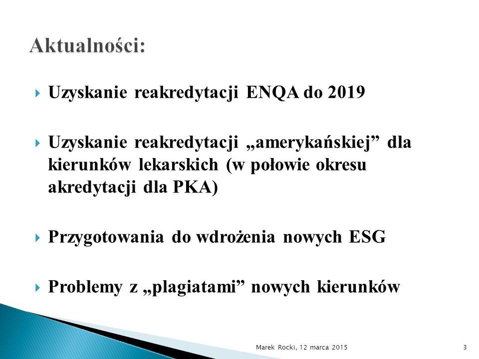 """ Uzyskanie reakredytacji ENQA do 2019  Uzyskanie reakredytacji """"amerykańskiej dla kierunków lekarskich (w połowie okresu akredytacji dla PKA)  Przygotowania do wdrożenia nowych ESG  Problemy z """"plagiatami nowych kierunków Marek Rocki, 12 marca 20153"""