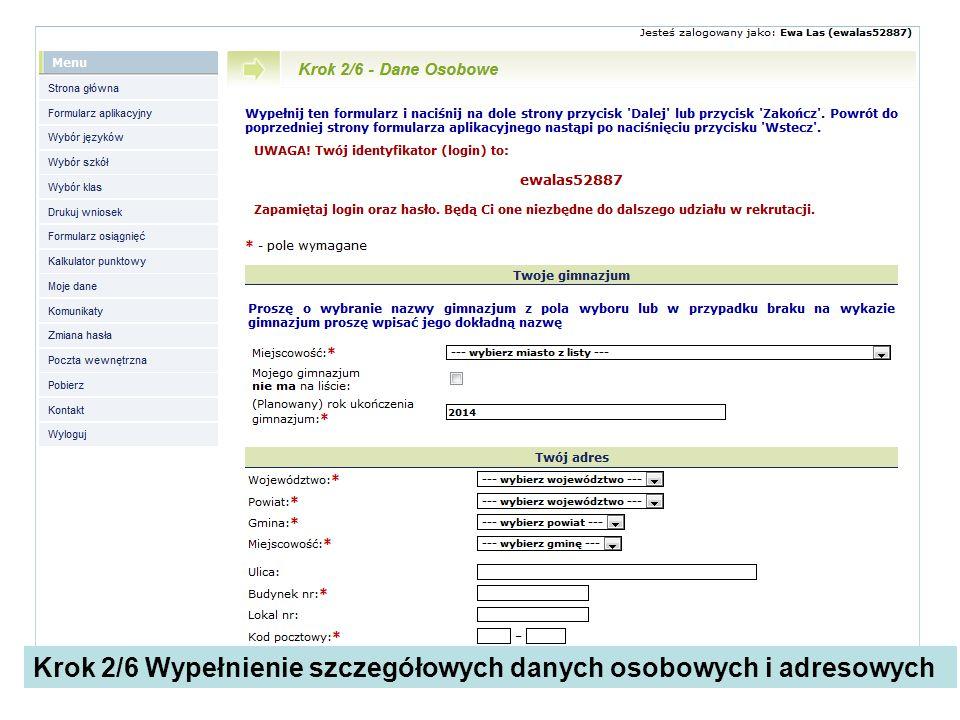 Krok 2/6 Wypełnienie szczegółowych danych osobowych i adresowych