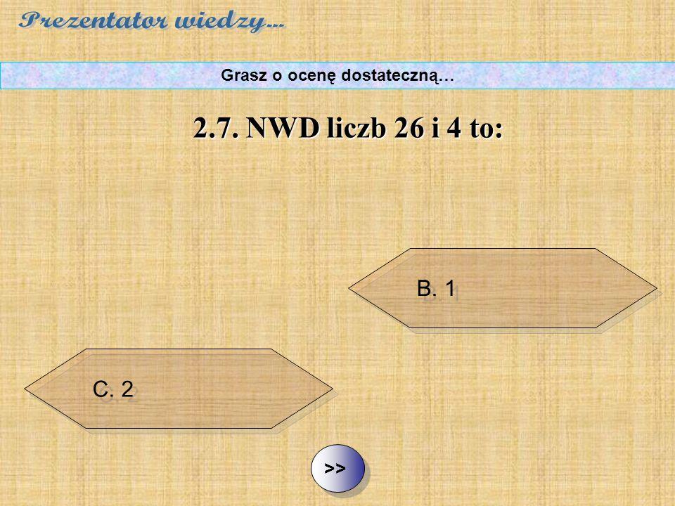 B. 1 C. 2 D. 26 ½ ½2.7. NWD liczb 26 i 4 to: Grasz o ocenę dostateczną… A. 0