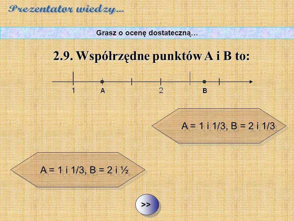 A = 1 i 1/3, B = 2 i 1/3 A = 1 i 1/3, B = 2 i ½ A = 1 i ¼, B = 2 i 2/3 ½ ½2.9. Współrzędne punktów A i B to: Grasz o ocenę dostateczną… A = 1 i ¼, B =