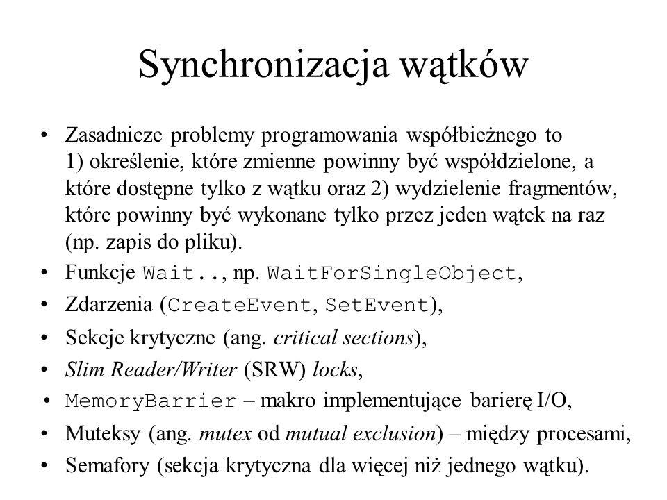 Synchronizacja wątków Zasadnicze problemy programowania współbieżnego to 1) określenie, które zmienne powinny być współdzielone, a które dostępne tylk